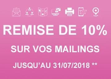 Remise de 10% sur vos mailings jusqu'au 31 juillet 2018
